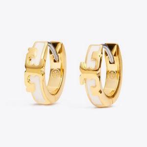 Tory Burch earrings logo white earrings